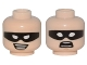Part No: 3626cpb1516  Name: Minifigure, Head Dual Sided Male Black Eye Mask with Eye Holes, Chin Dimple, Smile / Scared Pattern (Robin) - Hollow Stud