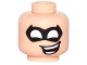 Part No: 3626cpb1541  Name: Minifigure, Head Male Black Eye Mask Pointed with White Eye Holes and Open Mouth Crooked Smile Pattern - Hollow Stud