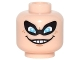 Part No: 3626cpb1551  Name: Minifigure, Head Male Black Eye Mask with Eye Holes, Blue Eyes, Freckles, Evil Grin with Teeth Pattern (Syndrome) - Hollow Stud