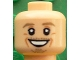 Part No: 3626cpb1603  Name: Minifigure, Head Dark Tan Eyebrows, Chin Stubble, White Pupils, Cheek Lines, Open Smile Pattern (Max Kruse) - Hollow Stud