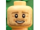 Part No: 3626cpb1604  Name: Minifigure, Head Dark Tan Eyebrows, Beard Stubble, White Pupils, Chin Dimple, Open Smile Pattern (André Schürrle) - Hollow Stud