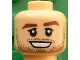 Part No: 3626cpb1606  Name: Minifigure, Head Reddish Brown Eyebrows, Stubble, White Pupils, Chin Dimple, Open Smile Pattern (Christoph Kramer) - Hollow Stud