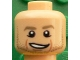 Part No: 3626cpb1612  Name: Minifigure, Head Dark Tan Eyebrows, Stubble, Chin Dimple, Cheek Lines, Open Smile Pattern (Marco Reus) - Hollow Stud
