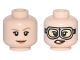 Part No: 3626cpb1628  Name: Minifigure, Head Dual Sided Female, Dark Tan Eyebrows, Smile / Silver Goggles Pattern (Jillian Holtzmann) - Hollow Stud