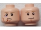 Part No: 3626cpb1637  Name: Minifigure, Head Dual Sided Dark Tan Eyebrows, Chin Dimple, White Pupils, Stern with Scars / Smile Pattern (SW Luke Skywalker) - Hollow Stud