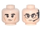 Part No: 3626cpb1681  Name: Minifigure, Head Dual Sided Black Eyebrows and Cheek Lines, Left Eyebrow Raised / Black Glasses and Headset with Microphone Pattern - Hollow Stud