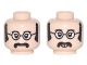 Part No: 3626cpb1682  Name: Minifigure, Head Dual Sided Black Glasses with White Lenses, Sideburns and Moustache, Neutral / Smiling Pattern (John) - Hollow Stud