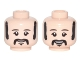 Part No: 3626cpb1685  Name: Minifigure, Head Dual Sided Black Eyebrows, Sideburns, Moustache, Neutral / Smiling Pattern (Ringo) - Hollow Stud