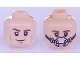 Part No: 3626cpb1921  Name: Minifigure, Head Dual Sided Brown Eyebrows, Cheek Lines, Smirk / Breathing Mask Pattern (SW Han Solo) - Hollow Stud