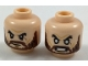 Part No: 3626cpb1924  Name: Minifigure, Head Dual Sided Black Eyebrows, Reddish Brown Beard, Neutral / Angry with White Eyes Pattern - Hollow Stud