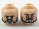 Part No: 3626cpb1989  Name: Minifigure, Head Dual Sided, Black Eyebrows, Moustache and Beard, Passive / Red Eyes Pattern - Hollow Stud