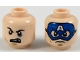 Part No: 3626cpb2052  Name: Minifigure, Head Dual Sided Black Eyebrows, Dark Tan Soul Patch, Black Eye and Missing Tooth / Blue Captain America Mask Pattern - Hollow Stud