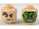 Part No: 3626cpb2053  Name: Minifigure, Head Dual Sided with Bandaged Brow and Bruised Cheek / Green Hulk Mask Pattern - Hollow Stud