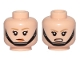 Part No: 3626cpb2100  Name: Minifigure, Head Dual Sided Female Dark Tan Eyebrows, Black Chin Strap, Disgusted / Angry Pattern - Hollow Stud