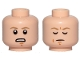 Part No: 3626cpb2107  Name: Minifigure, Head Dual Sided Dark Tan Eyebrows, Chin Dimple, Concearned / Closed Eyes, Meditating Pattern (SW Luke Skywalker) - Hollow Stud