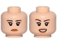 Part No: 3626cpb2109  Name: Minifigure, Head Dual Sided Female Dark Brown Eyebrows, Orange Lips, Neutral / Smile Pattern - Hollow Stud