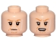 Part No: 3626cpb2129  Name: Minifigure, Head Dual Sided Orange Eyebrows, Facial Hairs, Long White Scar on Left Side, Frown / Open Mouth Pattern (SW Rebolt) - Hollow Stud