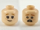 Part No: 3626cpb2164  Name: Minifigure, Head Dual Sided Dark Orange Eyebrows, Orange Freckles, Lopsided Grin / Scared Pattern - Hollow Stud