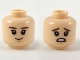 Part No: 3626cpb2169  Name: Minifigure, Head Dual Sided Child Reddish Brown Eyebrows, Grim / Scared Pattern - Hollow Stud