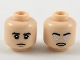 Part No: 3626cpb2204  Name: Minifigure, Head Dual Sided Black Eyebrows, Neutral Expression / Angry with Silver and White Eyes Pattern - Hollow Stud