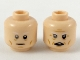 Part No: 3626cpb2215  Name: Minifigure, Head Dual Sided White Eyebrows, Gray Right Eye, Neutral / Furrowed Brow and Open Mouth Pattern - Hollow Stud