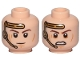 Part No: 3626cpb2225  Name: Minifigure, Head Dual Sided Gold Headset, Closed Mouth Smile / Angry Pattern (SW Anakin) - Hollow Stud