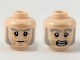 Part No: 3626cpb2255  Name: Minifigure, Head Dual Sided Light Bluish Gray Eyebrows and Muttonchops, Medium Nougat Age Lines, Neutral / Scared Expression Pattern - Hollow Stud