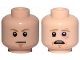 Part No: 3626cpb2262  Name: Minifigure, Head Dual Sided Dark Tan Eyebrows, Chin Dimple, White Pupils, Stern / Scared, Sunken Left Eye Pattern (SW Luke Skywalker) - Hollow Stud