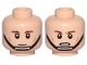 Part No: 3626cpb2295  Name: Minifigure, Head Dual Sided SW Brown Eyebrows, Cheek Lines, Black Chin Strap, Neutral / Frown Pattern - Hollow Stud
