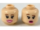 Part No: 3626cpb2319  Name: Minifigure, Head Dual Sided Female, Reddish Brown Eyebrows, Dark Pink Lips, Smile / Worried with Right Eyebrow Raised Pattern - Hollow Stud