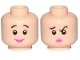 Part No: 3626cpb2340  Name: Minifigure, Head Dual Sided Female, Black Eyebrows, Pink Lips, Smile / Concerned Pattern (Wilma Flintstone) - Hollow Stud