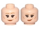 Part No: 3626cpb2357  Name: Minifigure, Head Dual Sided Female Dark Tan Eyebrows, Flesh Lips, Cheeks Lines, Eyebrow Raised, Smile / Smirk Pattern (Leia) - Hollow Stud