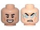 Part No: 3626cpb2374  Name: Minifigure, Head Dual Sided Black Eyebrows, Cheek Lines, Smile / Light Blue Lightning Bolts Pattern - Hollow Stud