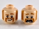 Part No: 3626cpb2416  Name: Minifigure, Head Dual Sided Dark Orange Eyebrows, Muttonchops and Horseshoe Moustache, Smile with Raised Eyebrow / Scared Pattern - Hollow Stud