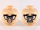 Part No: 3626cpb2443  Name: Minifigure, Head Dual Sided Black Eyebrows and Glasses, Reddish Brown Freckles, Smile / Scared Pattern - Hollow Stud