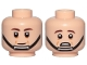 Part No: 3626cpb2452  Name: Minifigure, Head Dual Sided Dark Brown Eyebrows, Cheek Lines, Black Chin Strap, Neutral / Scared Pattern (SW Captain Antilles) - Hollow Stud