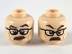 Part No: 3626cpb2458  Name: Minifigure, Head Dual Sided Reddish Brown Eyebrows and Moustache, Black Glasses, Surprised with Eyebrow Raised / Angry Pattern - Hollow Stud