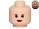 Part No: 3626cpx83a  Name: Minifigure, Head Female with Red Lips, Small Eyebrows, Big Eyes Pattern - Hollow Stud