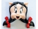 Part No: 75692pb01  Name: Minifigure, Head, Modified Looney Tunes Petunia Pig with Black Hair, Red Bows and Tongue Pattern