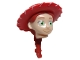 Part No: 87764pb01  Name: Minifigure, Head Modified Female with Red Hat and Ponytail Pattern (Jessie)