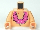Part No: 973pb1041c01  Name: Torso SpongeBob with Navel and Pink Lei Pattern / Light Nougat Arms / Light Nougat Hands