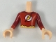 Part No: FTBpb024c01  Name: Torso Mini Doll Boy Red Shirt, Yellow Lightning in White Circle Pattern, Light Nougat Arms with Hands with Dark Red Sleeves