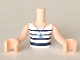 Part No: FTGpb063c01  Name: Torso Mini Doll Girl White Top with Dark Blue Stripes and Necklace Pattern, Light Nougat Arms with Hands