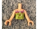 Part No: FTGpb094c01  Name: Torso Mini Doll Girl Lime Strapless Top with Lavender Trim and Silver and Magenta Flowers Pattern, Light Nougat Arms with Hands