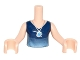 Part No: FTGpb102c01  Name: Torso Mini Doll Girl Dark Blue Top with Light Blue Gradient and Silver Necklace Pattern, Light Nougat Arms with Hands