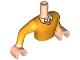 Part No: FTMpb008c01  Name: Torso Mini Doll Man Bright Light Orange Sweater with Shirt Collar Pattern, Light Nougat Arms with Hands with Bright Light Orange Sleeves
