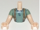 Part No: FTMpb029c01  Name: Torso Mini Doll Man Sand Green Top with Suspenders Pattern, Light Nougat Arms with Hands with Sand Green Sleeves