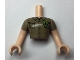 Part No: FTMpb039c01  Name: Torso Mini Doll Friends Dark Tan Shirt with Pockets and Green Badge with Tree Pattern, Light Flesh Arms with Hands with Dark Tan Sleeves Pattern