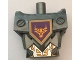 Part No: 23763c01pb01  Name: Torso, Modified Oversized with Armor with Pin Holes with Orange and Gold Circuitry #1 and Orange Bull Head on Dark Purple Pentagonal Shield Pattern