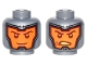 Part No: 3626cpb1581  Name: Minifigure, Head Dual Sided Balaclava, Orange Face, Dark Red Eyebrows and Cheek Lines, Smiling / Open Mouth Scowl Pattern - Hollow Stud